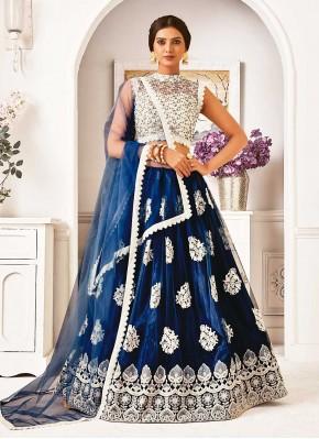 Stylish Navy Blue Lace Lehenga Choli
