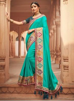 Stylish Patch Border Silk Designer Traditional Saree