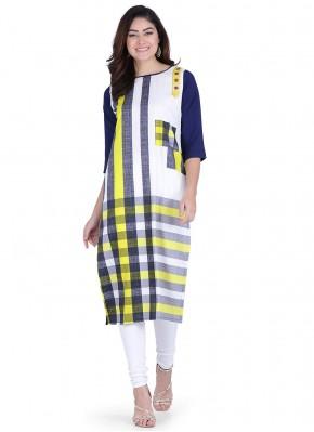 Stylish Print Multi Colour Faux Crepe Party Wear Kurti