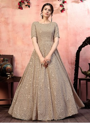 Stylish Sequins Beige Faux Georgette Designer Gown