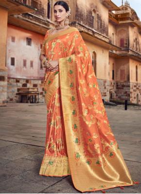 Stylish Silk Orange Embroidered Traditional Designer Saree