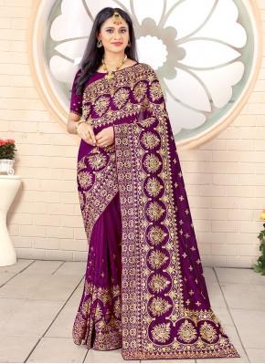 Stylish Vichitra Silk Festival Traditional Designer Saree