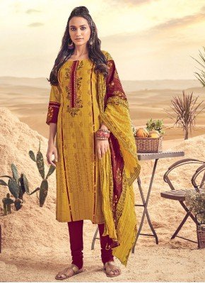 Suave Embroidered Mustard Polly Cotton Salwar Suit