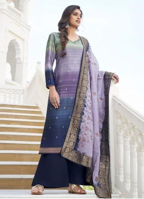 Suave Embroidered Purple Designer Palazzo Salwar Suit