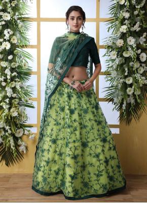 Suave Green Embroidered Net Designer Lehenga Choli