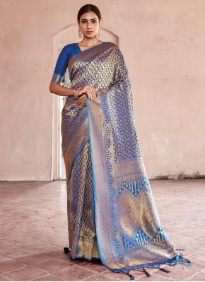 Suave Handloom silk Blue Traditional Designer Saree