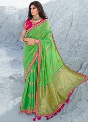 Suave Lace Green Silk Classic Saree