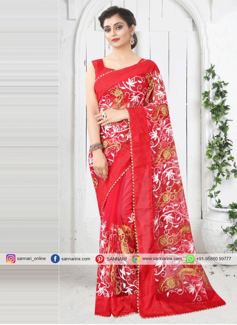 Suave Net Print Red Printed Saree