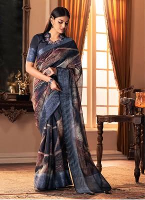 Suave Printed Multi Colour Silk Traditional Designer Saree
