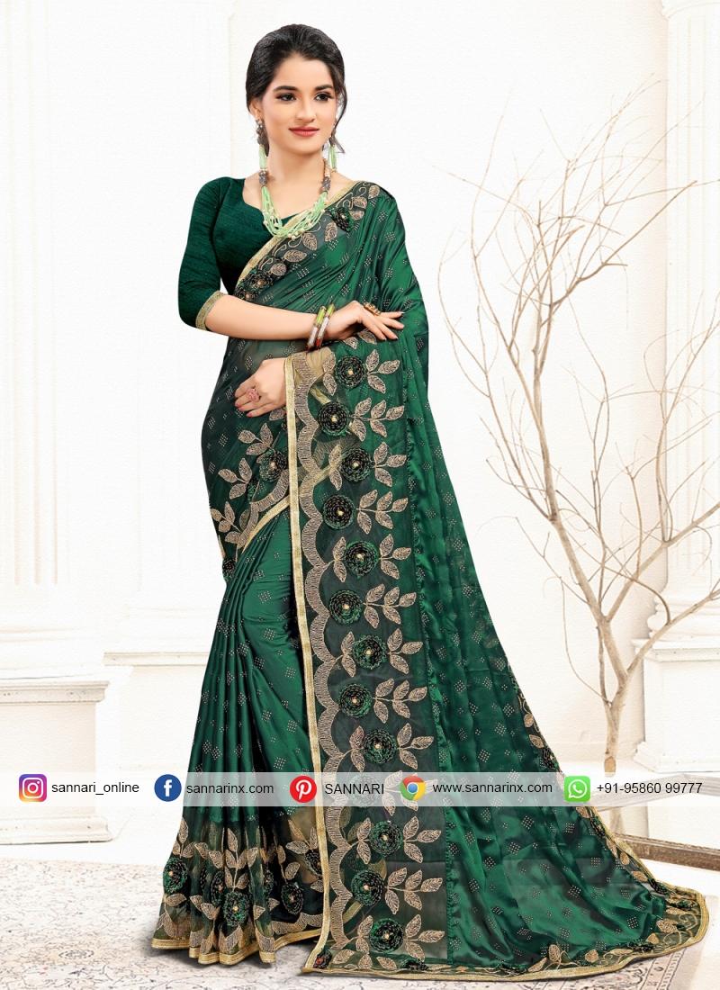 Suave Sequins Banglori Silk Green Classic Designer Saree