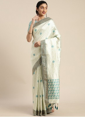 Subtle Art Silk Off White Embroidered Traditional Designer Saree