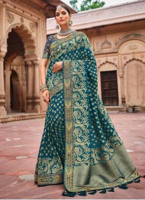 Subtle Banarasi Silk Morpeach  Resham Designer Traditional Saree