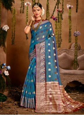 Subtle Fancy Blue Designer Traditional Saree