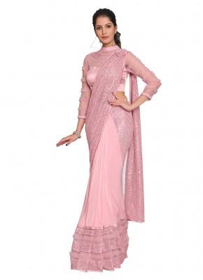 Subtle Lycra Pink Embroidered Designer Saree