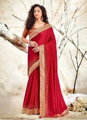 Subtle Patch Border Chanderi Red Designer Traditional Saree