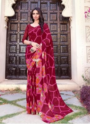Subtle Printed Faux Chiffon Multi Colour Printed Saree