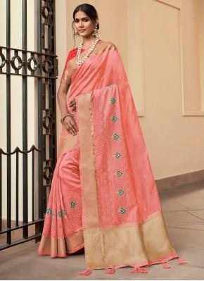 Sumptuous Cotton Pink Contemporary Saree