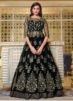 Sumptuous Embroidered Black Long Choli Lehenga