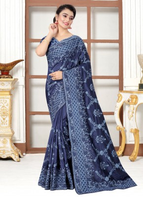 Sumptuous Embroidered Silk Traditional Saree
