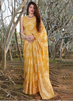 Sumptuous Printed Silk Yellow Traditional Saree