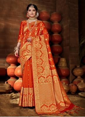 Sunshine Banarasi Silk Weaving Orange Traditional Saree