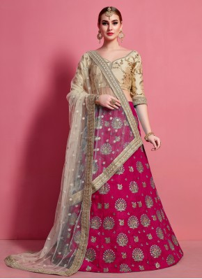 Sunshine Embroidered Art Silk Rani A Line Lehenga Choli