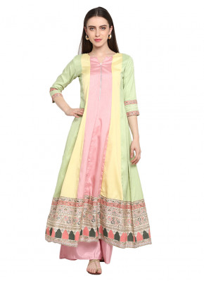 Sunshine Pink and Yellow Poly Silk Designer Kurti