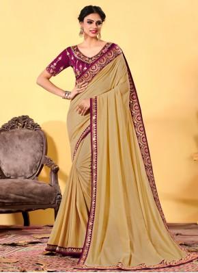Sunshine Silk Embroidered Beige Traditional Designer Saree