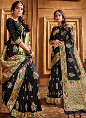 Superb Black Weaving Traditional Designer Saree