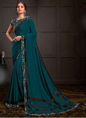 Superb Embroidered Faux Georgette Teal Designer Saree