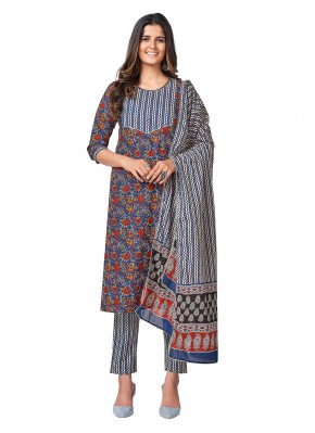 Superb Printed Cotton Blue Readymade Suit