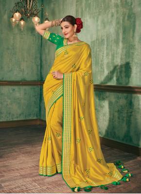 Superlative Silk Yellow Silk Saree