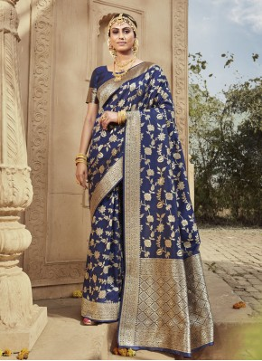 Surpassing Blue Festival Traditional Saree