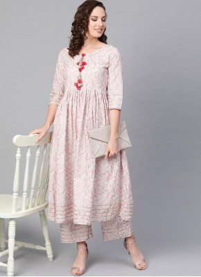 Surpassing Fancy Cotton Pink Party Wear Kurti
