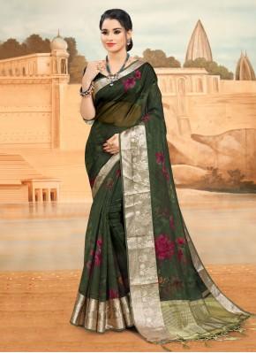 Surpassing Printed Green Printed Saree