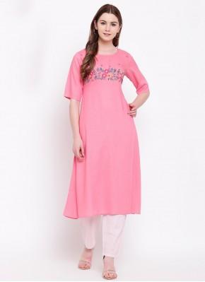Surpassing Rayon Pink Fancy Party Wear Kurti