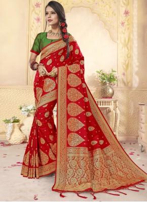 Surpassing Red Designer Saree