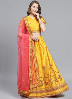 Surpassing Satin Embroidered Trendy Lehenga Choli