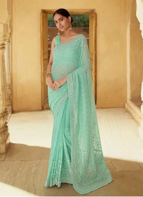 Surpassing Sea Green Sequins Classic Designer Saree