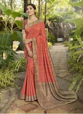 Surpassing Silk Printed Salmon Traditional Designer Saree