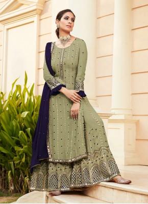 Swanky Green Designer Palazzo Suit