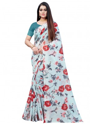 Swanky Multi Colour Abstract Print Printed Saree