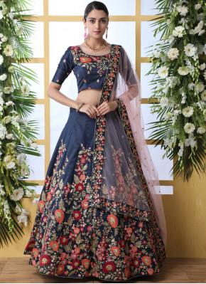 Swanky Navy Blue Thread Art Silk Designer Lehenga Saree