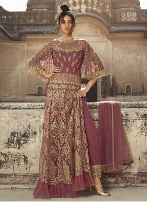 Swanky Net Thread Pink Pant Style Suit