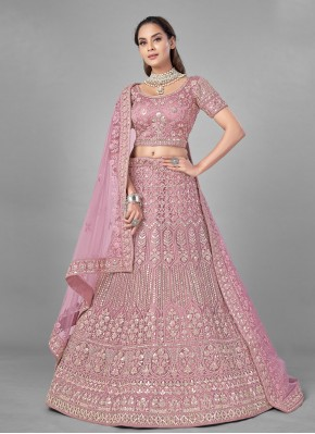 Swanky Pink Net Lehenga Choli