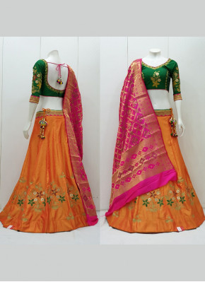 Tafeta Silk Aari Work Readymade Lehenga Choli