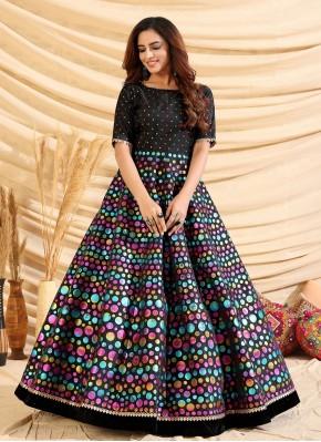 Tafeta Silk Black Designer Gown