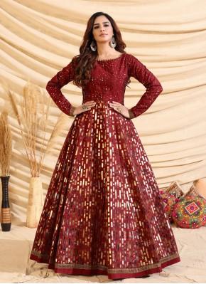 Tafeta Silk Fancy Maroon Designer Gown
