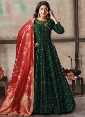 Tafeta Silk Green Anarkali Suit