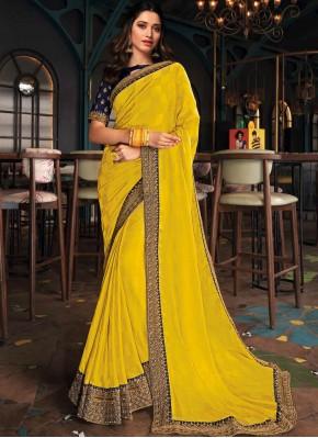 Tamannaah Bhatia Embroidered Mustard Silk Designer Saree